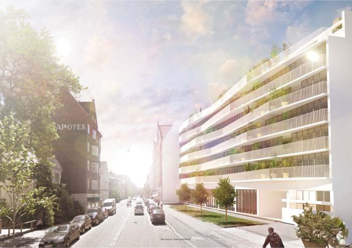 Bertelsen & Scheving - Facadetransformation HCØ27 - eksteriør visualisering